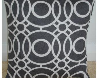 "26x26 Euro Sham Pillow Cover Charcoal Grey Geometric 26"" Modern Cushion Case Slip Pillowcase New Circles Pattern Dark Gray and Ivory Cream"
