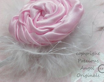 Handmade Satin Rolled Rose Headband Perfect for Newborns