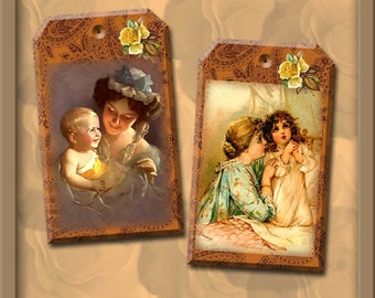 Mother & Child-CHaRMinG Vintage Art Tags/Cards- INSTaNT DOWNLoAD- Printable Collage Sheet Download JPG Digital File- New Lower Price