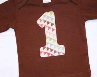 1st Birthday Shirt for Girls Number One Bunting Shirt - 12-18 month long sleeve brown shirt with pennant bunting fabric
