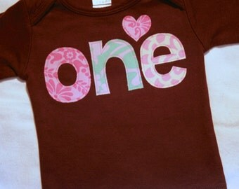 Girls 1st Birthday ONE shirt - 12-18 month long sleeve brown t shirt - lettering in pink and aqua