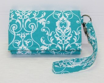 iPhone Wristlet Cell Phone Wallet Smartphone Case Card Wallet iPhone Case / Galaxy Moto X Nexus / NEW STYLE TECH / Aqua Damask