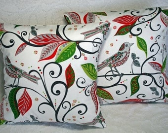 "Christmas Throw Pillow Covers  - Wrenly Christmas Wren in Pine - 16"" Decorative Pillow Covers (16-301**)"