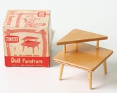 Vintage Mid Century Modern Strombecker Doll Furniture End Table, with original box