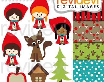 Red riding hood clipart - Little Red.. Clipart and Digital Paper - girl clip art - instant download