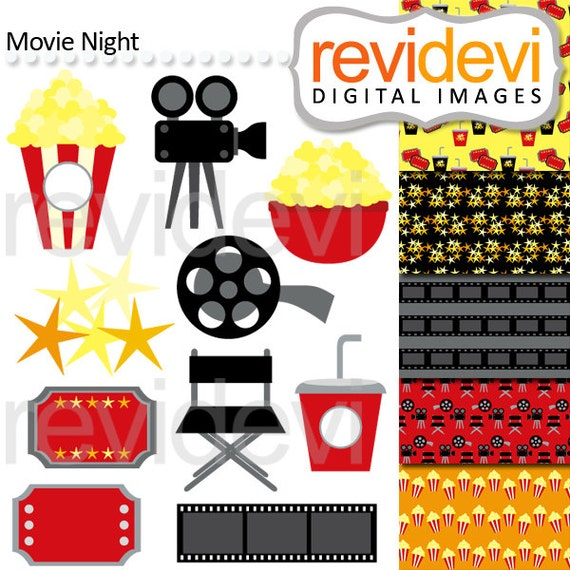 MOvie Night Clipart, Digital Papers, Commercial Use