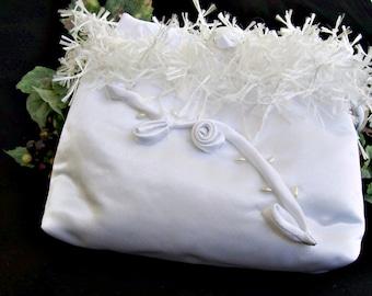 CLEARANCE  First Communion Purse , White Wedding Purse , Small Evening Bag , Flower Girl , Bridal Handbag