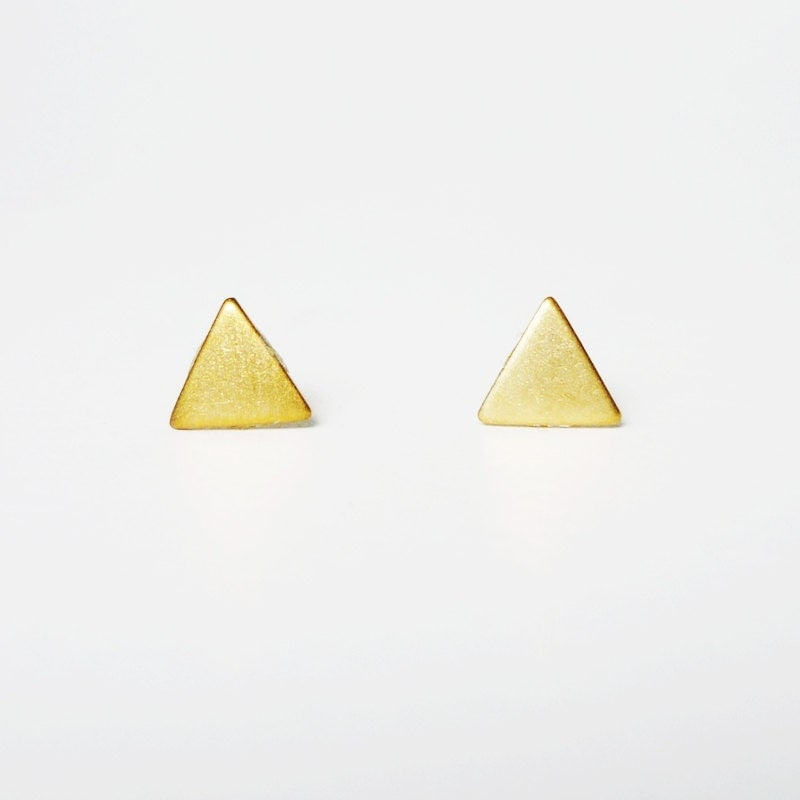 Gold Triangle Stud Earrings 925 Sterling Silver by allcraftsharing