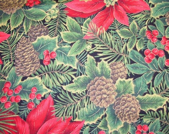 Pine Cones Holly Berries Christmas Fabric - 1 yard