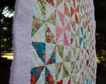 Modern - Baby-Toddler- Pinwheel Quilt - Woodland Bloom
