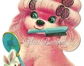 Cute Retro Pink Puppy in Curlers Clip Art Illustration .PnG and .JPG - DiY Printable - INSTANT DOWNLOAD