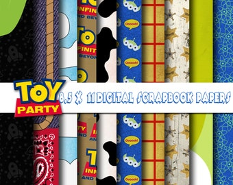Disney Pixar Toy Story Inspired  8.5x11 Digital Paper Backgrounds for Digital Scrapbooking, Party Supplies, etc -INSTANT DOWNLOAD -