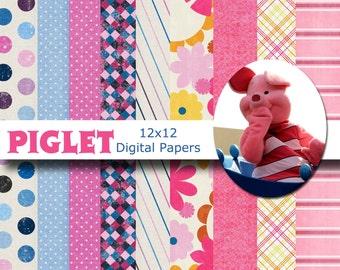 Disney Piglet Inspired 12x12 Digital Scrapbook Paper Backgrounds -INSTANT DOWNLOAD -