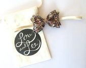 Baby bow headband - Multi color glitter bow on natural elastic