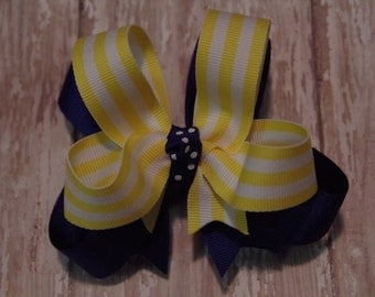 "Girls Hair Bow Royal Blue and Yellow 4"" Boutique Layered Hairbow Blue and Yellow Hair Bow School Uniform Bow"
