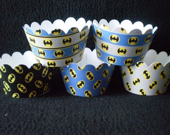 Custom Batman Themed Cupcake Wrappers (12)