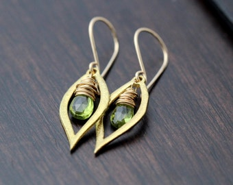 Peridot Dangle Earrings, August Birthstone, 14k Gold Filled, (As Seen On The Vampire Diaries) - Dew