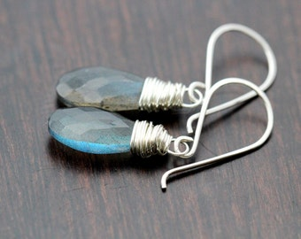 Labradorite Dangle Earrings , Gemstone Drops in Sterling Silver , Wire Wrapped Earrings