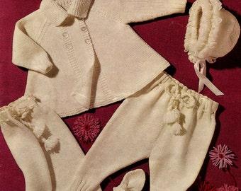 Vintage Pram Set for Girl, (Coat, Legginettes Bonnet, Mittens) Knitting Pattern, 1960 (PDF) Pattern, Sirdar 307