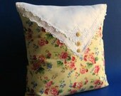 Handmade Cottage  Pillow Cover -- Yellow with Red and Pink Roses -- Vintage Linen -- Vintage Buttons