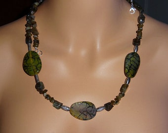 Labradorite and Agate Necklace, Long Ladies Necklace, 37 inch Labradorite Necklace, Handmade Necklace