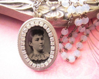 Antique Tintype Necklace with rhinestones and glass beads