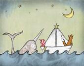 Nursery Art Print, Fox and Narwhal, 8 x 10 inch Nautical Art Print, Baby Boy Nursery Art Print, Children's Art Print