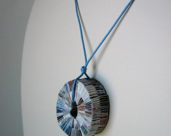 Paper Necklace On A Blue Cotton Cord - Round