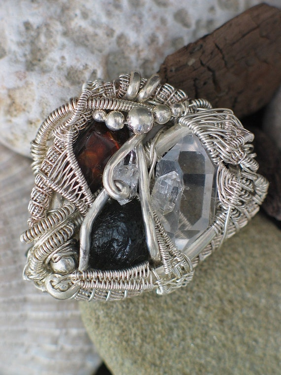 ON HOLD Moldavite, Fire Agate, and Quartz Brooch Pin Wire Wrap Jewelry Handmade
