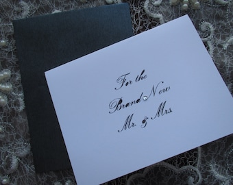 Brand New Mr. & Mrs, Wedding card, recycled, Swarovski crystal