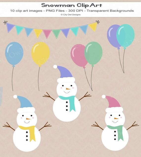 Items similar to Snowman Clip Art, Winter, Birthday ...