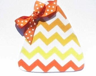 Halloween Chevron Print Candy Corn...Fabric Iron On Applique...Ribbon Included
