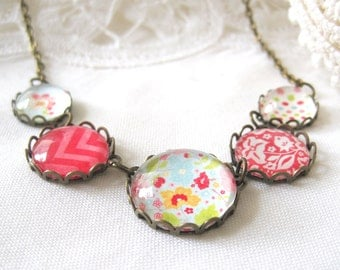 Red, Pink and Blue Glass Antique Brass Necklace