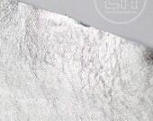 Genuine Metallic Silver Leather / 8x12 cut