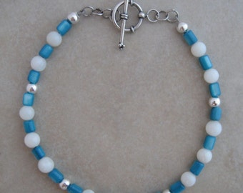 Turquoise Mother of Pearl and Sterling Silver Bracelet