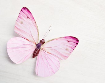 Butterfly photograph, nursery art, girls room decor, whimsical butterfly photo, pastel pink, butterfly decor, dreamy - Pink and White