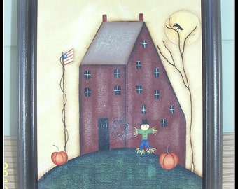 Fall Saltbox House Primitive Hand Painted Canvas Picture Home Decor Decoration