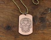 Unisex Etched Sugar Skull Copper Dog Tag Necklace