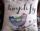 Simplify blue bird stitchery pillow