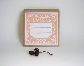 Hand printed Ex Libris Book Plates, Set of 4 in Coral, Self Adhesive