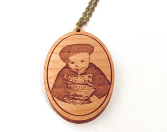 Wooden Photo Pendant - Engraved Wooden Necklace with Your Picture