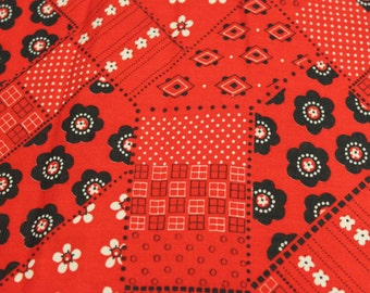 Red Black Printed Vintage Handkerchief Print Fabric - 2 5/8 Yards - Vintage Yardage / 1960s Fabric / Vintage Fabric / Handkerchief Fabric