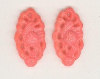 2 - 1920's Czech Scalloped LACY Orange Coral Raised Pierced Floral Art Deco Vintage Glass Cabochon Pendant Beads 25mm No.921