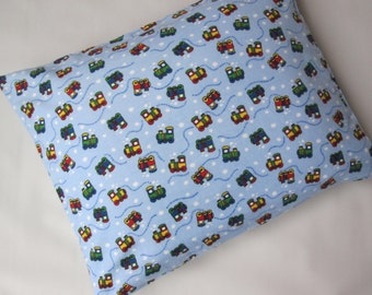 The Perfect Toddler Pillow ... Choo Choo Trains Steam Engine Royal Colors in Flannel... Original Design by Sew Cinnamon