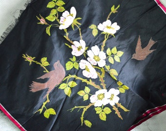 """1930s Hand Painted Black Satin Material Panel Birds Pink Blossom Flowers 22 x 22"""" Square 2 of 3 different - Buy 2 Get 3rd FREE Offer"""