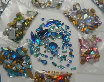 8 to 10 Gram Vintage Rhinestone Mix. Special shapes and finishes. Swarovski, Preciosa, French, etc. Crystal Clay! Jewelry Repair
