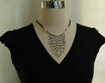 Black ad white beaded, charm statement necklace FREE SHIPPING