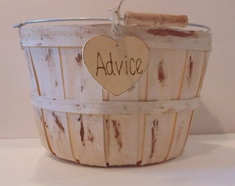 Wedding Card Box/Basket- Rustic Card Holder- Painted and Distressed-Advice Basket
