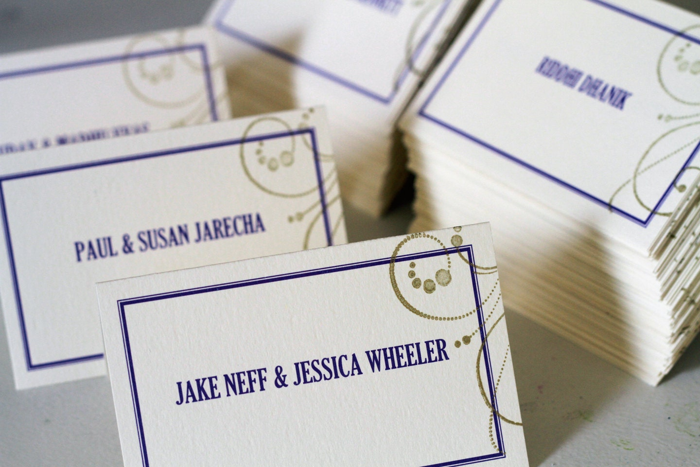 Gold Swirl Place Cards Escort Cards Guest Seating Wedding Reception Decor