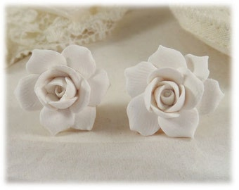 Gardenia Earrings Stud or Clip On - Gardenia Jewelry Collection